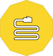 Cabling icon with Smartwire's yellow background